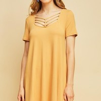 Mustard Strappy Neckline Shift Dress
