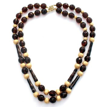 Brown Glass & Gold Bead Necklace Vintage
