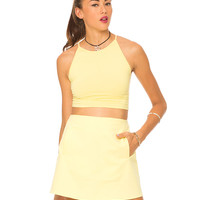 Motel Folly Strappy Crop Top in Lemon Sorbet