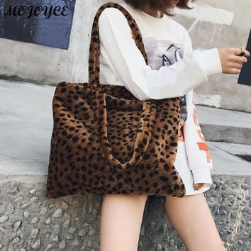 Women's Fashion Casual Soft Plush Leopard Print Shoulder Tote Bag