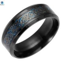 MINGXUAN Dragon Vintage Gold Free Shipping 316L stainless steel Ring Mens Jewelry for Men lord Wedding Band male ring for lovers