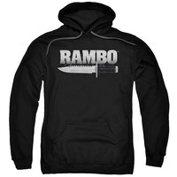 RAMBO:FIRST BLOOD/KNIFE-ADULT PULL-OVER HOODIE-BLACK