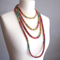 Colorful crochet cotton necklace, skinny scarf, african style necklace,  fashion accessory, loop scarf
