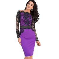 Vfemage Women Elegant Pinup Vintage Retro Lace Off Shoulder Patchwork Belted Stretch Colorblock Bodycon Party Fitted Dress 719