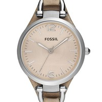 Women's Fossil 'Georgia' Leather Strap Watch, 32mm