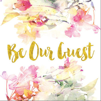 Be Our Guest Book Backdrop Watercolor Coral Floral Print Wife Fiancee Wedding Bride Future Mrs Shower Bridal Fabric Cloth Background