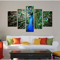 CANVAS ART Colorful Peacock Print on Canvas + Ready to Hang + 5 Panels Stretched Wall Art Canvas