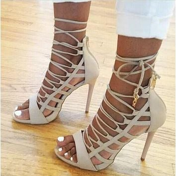 Hollow Out Fish Head High Heels Sandals