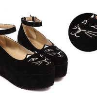 Cat's Meow Sueded Ballet Flat High Shoes [224]