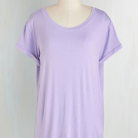 Pastel Long Short Sleeves Simplicity on a Saturday Top in Lavender by ModCloth