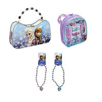 Disney Frozen Scoop Carry All Tin with Hair Accessory Set & Necklaces Combo-New!