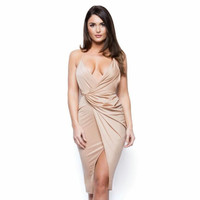 Strappy Slit Hem Cross Back Party Dress B0013715