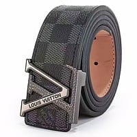 LV Louis Vuitton new classic monogram men and women models fashion simple wild smooth buckle belt Black Check Belt