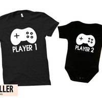 Player 1 Player 2 shirts, father and son matching shirts, dad to be shirt, daddy gift, Video game shirt, father gift