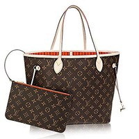 Authentic Louis Vuitton Neverfull MM Monogram Canvas Abricot Handbag Article:M41388