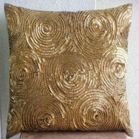 Golden Touch Throw Pillow Covers 16x16 Inches by TheHomeCentric