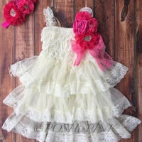 Rustic girl dress, pin, ivory country, hot pink, cream lace chiffon dress, flower girl, bridal wedding, shabby chic, vintage, ruffle, child