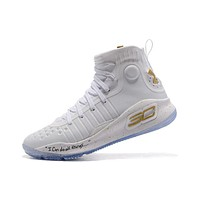 Best Deal Under Armour UA Men's SC30 Stephen Curry 4 White Gold Sport Sneaker