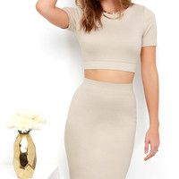 Clean Cut-Out Beige Two-Piece Dress