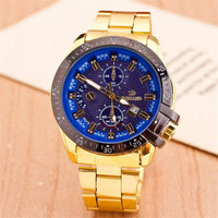 Mens Gold Alloy Band Strap Mrist Watch Best Christmas Gift Watch-450