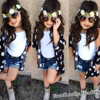 Baby Kids Girl Summer Daisy Flowers 3PCS Suit Blouse Vest Shorts Set = 1929923204