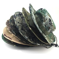 Military Camouflage Bucket Hats Fisherman Hats With Wide Brim Sun Fishing Bucket Hat Camping Sunscreen Hat
