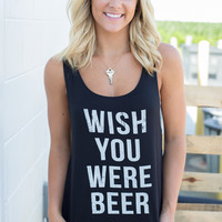 Wish You Were Beer Graphic Tank - Black/White