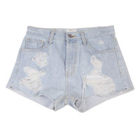 Destroyed Light Blue Micro Shorts