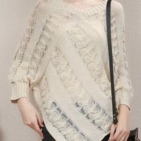 V-Neck Batwing Sleeves Cut Out Knitted Loose-Fitting Sweater