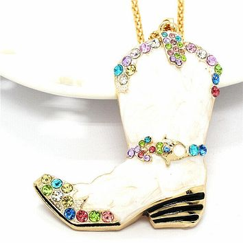 Betsey Johnson Cowboy Boot White Marble Crystal Pendant Necklace