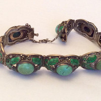Persian Turquoise, Chinese Enamel Bracelet, Chinese Silver, Art Deco Vintage Jewelry SUMMER SALE