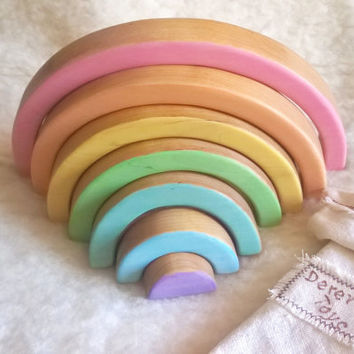 Waldorf Pastel RAINBOW Stacker // Puzzle // birch // Wood // Gift for Toddlers and Children Handmade Eco Friendly Toy // Waldorf Toy