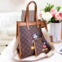 LV Louis Vuitton x Disney Women Shopping Bag Leather Mickey Mouse Crossbody Satchel Shoulder Bag Wallet Set Two Piece
