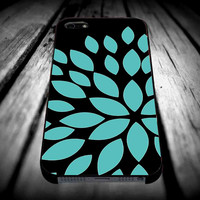 Aqua Turquoise Blue Flower Silhouette for iPhone 4/4s/5/5s/5c/6/6 Plus Case, Samsung Galaxy S3/S4/S5/Note 3/4 Case, iPod 4/5 Case, HtC One M7 M8 and Nexus Case ***