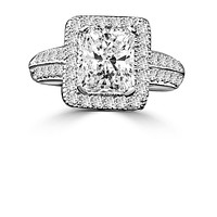 2CT Radiant Diamond Veneer Cubic Zirconia Sterling silver Vintage Ring.