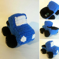 Blue crochet truck for baby toddler and boys children's toy