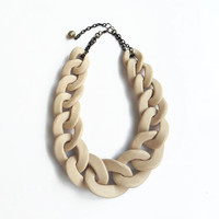 Nude chunky chain necklace, oversized chain statement necklace