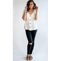 Preslee Cuffed V-Neck Button-Down Top