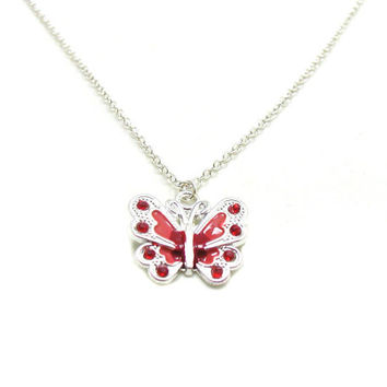 Red Butterfly Necklace, Charm Necklace, Butterfly Charm Jewelry, Butterfly Pendant, Silver Butterfly Jewelry, Jewelry Gift, Gift Under 20