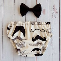 Baby Boy Mustache Diaper Cover And Matching Bow Tie