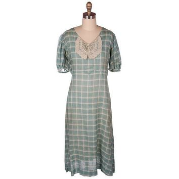 Vintage Cotton Day Dress Pale Green & Ivory Plaid & Lace 1930s 40-36-42