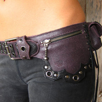 dark lines leather belt bag in purple leather by JungleTribe