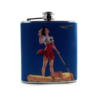 Vintage Pin-up Girl in Life Raft Hip Liquor Flask 6 or 8 oz