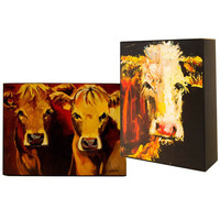 Gallery MDF Block Wall Decor w/ Cow Images, 2 Styles