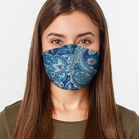 Face Mask - Blue Paisley - FAST DELIVERY