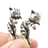 Fake Gauge Earrings: Adorable Kitty Cat Shaped Animal Themed Stud Earrings in Silver