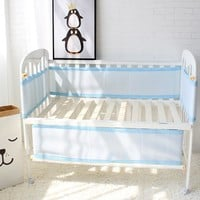 Baby Bed Bumper Breathable Mesh Crib Bumpers Baby Bedding 3 Layer Crib Liner Baby Cot Bed Around Protector Blue and Pink Color