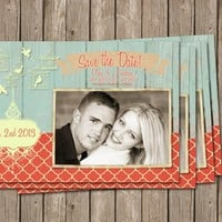 Save the date Anouncement ,rustic, coral Digital file, Printable