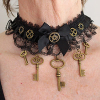 Steampunk Gothic choker necklace collar neck cuff with cogs and keys charms