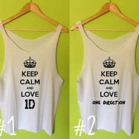 Keep Calm and Love One Direction 1D Printed Tee Shirt Tank